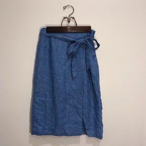 Blue midi pencil skirt with slit